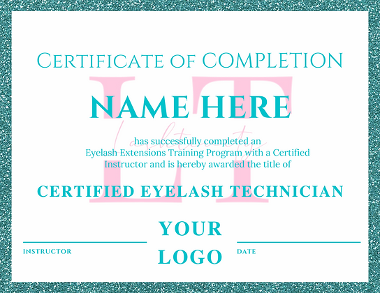 Teal Glitter Certificate of Completion