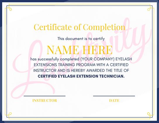 Lash Training Certificate #2