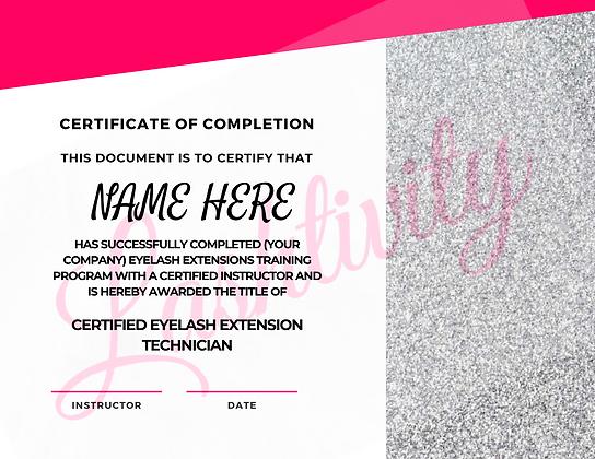Lash Training Certificate #3