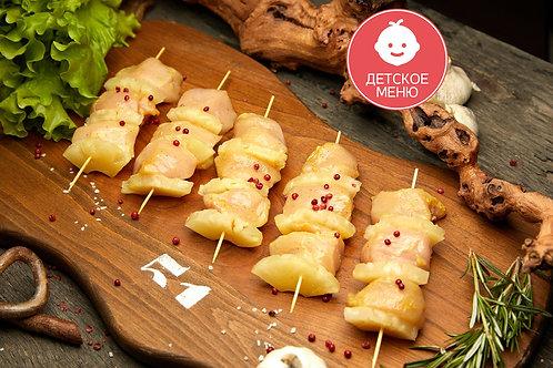 Шашлычки из куриной грудки с ананасом (5 шт), 480 гр.