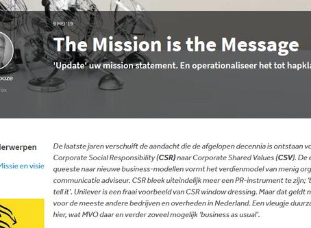 Mission statement moet tot uiting komen in gedrag