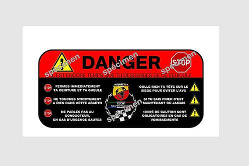 Sticker DANGER passager