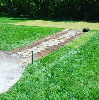 Stone Slab Pathway to Tee