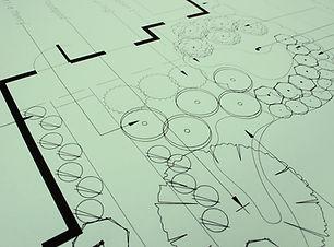 Closeup of green landscaping blueprints,