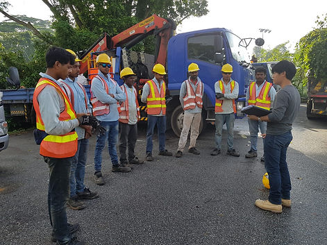 Tool Box Meeting with Yong Aik Crane Workers