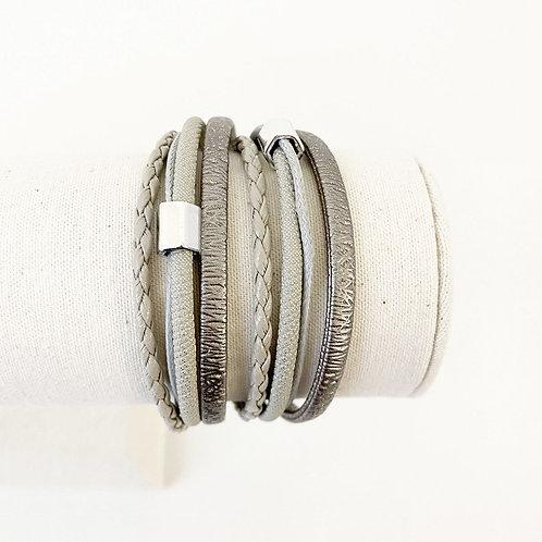 Bracelet Caracol, Cuir avec bille métal, Gris, 3108-GRY