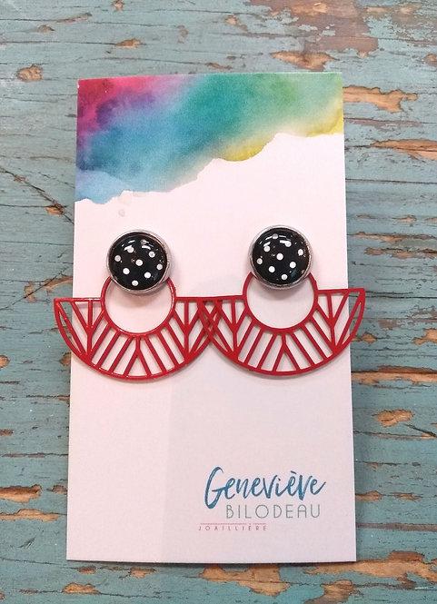 Boucles d'oreille GB Joaillière, 2 en 1, Noir et éventail rouge géométrique