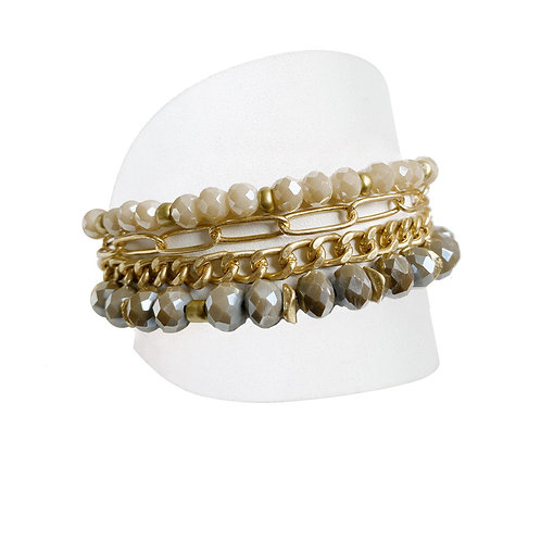 Ensemble de 3 bracelets Caracol, Billes et chaînes, Crème-brun et or, 3185-BRN