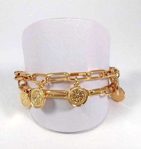 Bracelet Spoutnik ajustable, Chaîne maille ovale avec breloques rondes