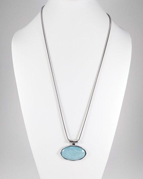 Collier long Spoutnik, Ovale bleu aqua