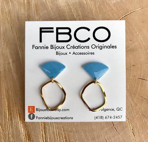 Boucles d'oreille FBCO ''Merrie'' Bleu poudre