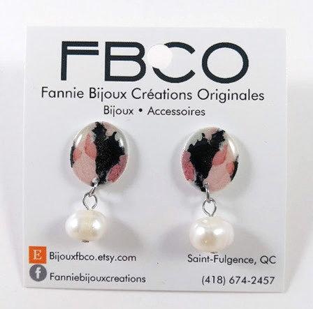 Boucles d'oreille FBCO ''Pauline: abstrait rose, noir et blanc''