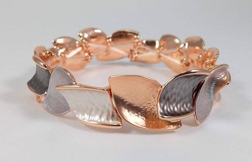 Bracelet élastique Spoutnik, feuillage or rose et taupe