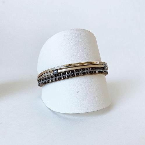 Bracelet Caracol, Cuir véritable, Tube, Taupe et or, 3171-BGE