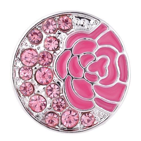 Bouton pression (Snap) Nomaad Interchangeable, Fleur rose et cristaux