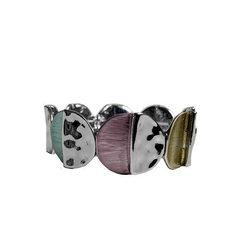 Bracelet élastique Caracol, Cercle de métal, Mix et hématite, 3172-MIX