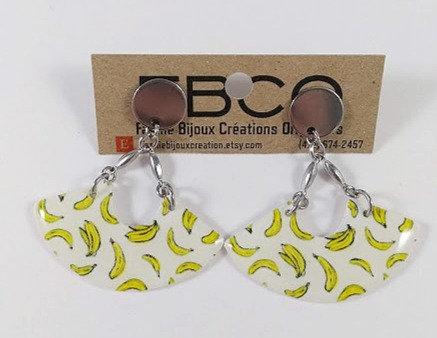 Boucles d'oreille FBCO ''Demi-lune'' Motif bananes, Argent