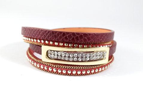 Bracelet cuirette rouge, Rectangle or, cristal