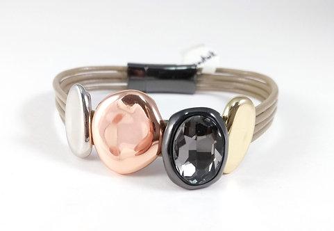 Bracelet cuirette taupe, Pièce métal argent, noir, or et or rose, cristal