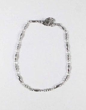 Bracelet de cheville, acier inoxydable, Billes et ovales, argent