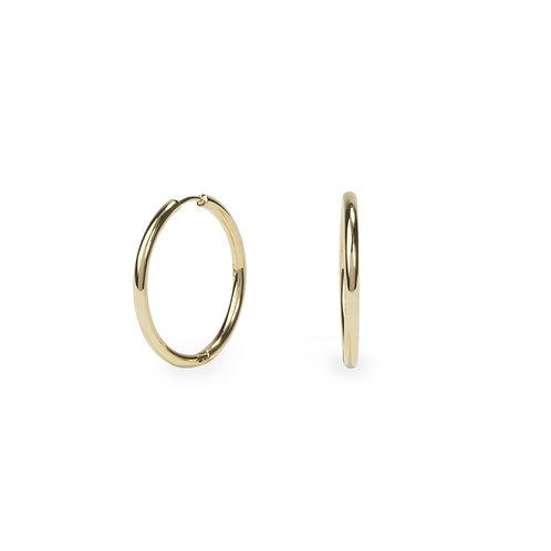 Boucles oreilles anneaux unies 20mm, Acier inoxydable, Or