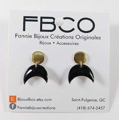 Boucles d'oreille FBCO ''Luna'' Cercle or et lune noire