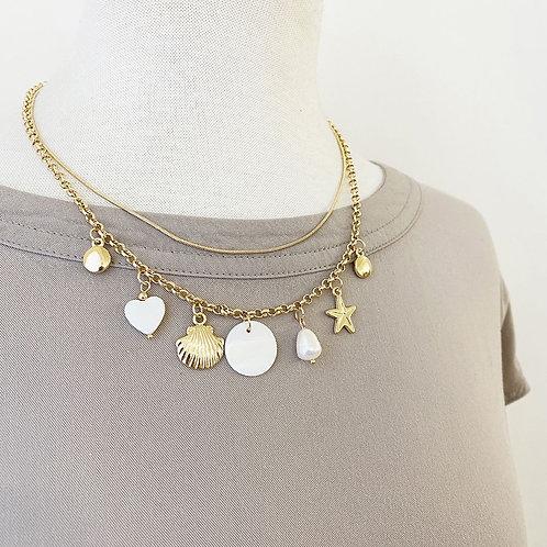 Collier court Caracol, chaîne double, perle et étoile de mer, Or, 1390-GLD