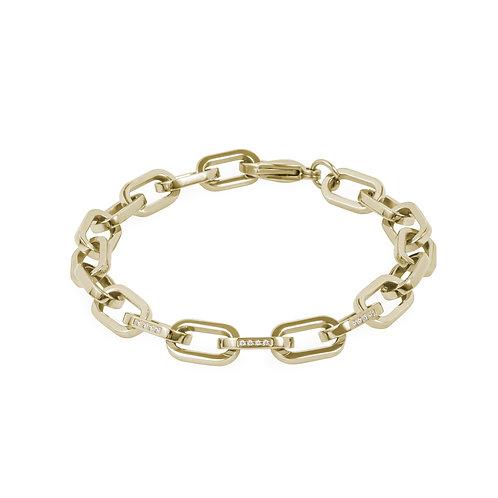 Bracelet Mia, larges mailles avec pierres, or jaune, acier inoxydable