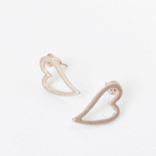 Boucles d'oreille Caracol, Coeur sur tige, Or rose mat, 2424-RGD