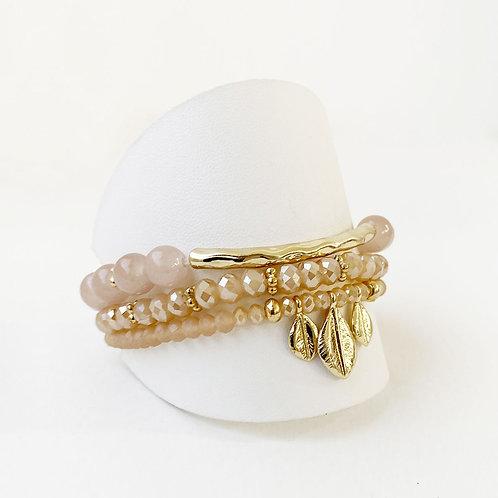 Ensemble de 3 bracelets Caracol, Tube et feuilles, Rosé-blush, 3141-BLH
