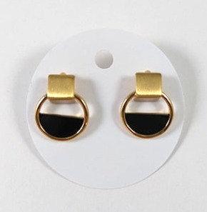 Boucles d'oreille Spounik: Cube et cercle, or et noir