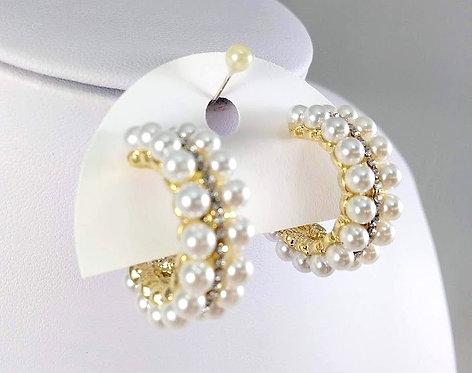 Boucles d'oreille anneau Spoutnik, perle blanche, cristal et or