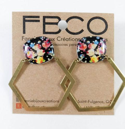 Boucles d'oreille FBCO ''Olga'' Tâches colorées, noir et laiton