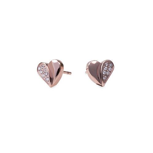 Boucles oreilles cœur moitié pierres, Acier inoxydable, Or rose