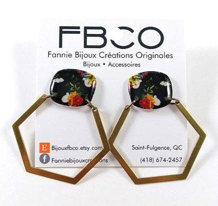 Boucles d'oreille FBCO ''Olga'' Fleur rouge-orange, noir et laiton