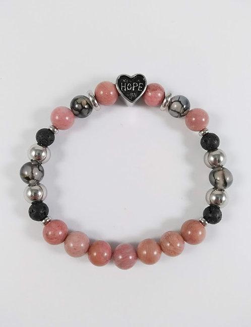 Bracelet #19 Rhodonite, Agate de feu et pierre volcanique