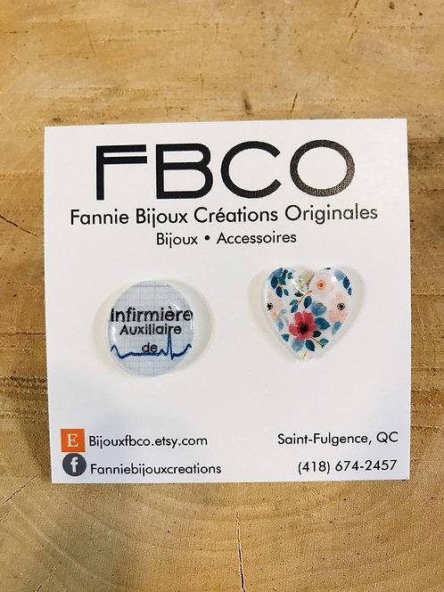 Boucles d'oreille FBCO ''Infirmière auxilière de coeur''