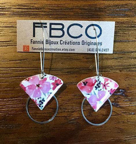 Boucles d'oreille FBCO ''Sidonie'' Fleur rose, blanc