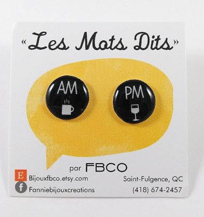 Boucles d'oreille FBCO ''Message: AM/PM''