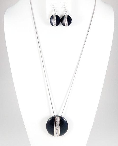 Ensemble collier long et boucles d'oreille Spoutnik, Cercle bleu marin, cristaux