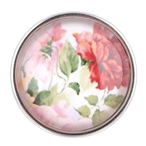 Bouton pression (snap) Nomaad Interchangeable, Motif fleur rose
