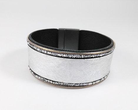 Bracelet cuirette argent, Cristaux