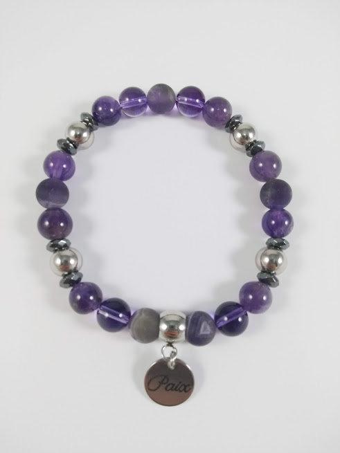 Bracelet #4 Améthyste et Hématite