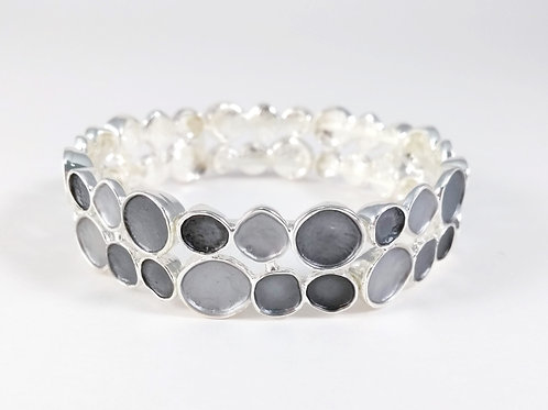 Bracelet élastique Caracol, Pièce de métal argenté, cercles, noir et gris