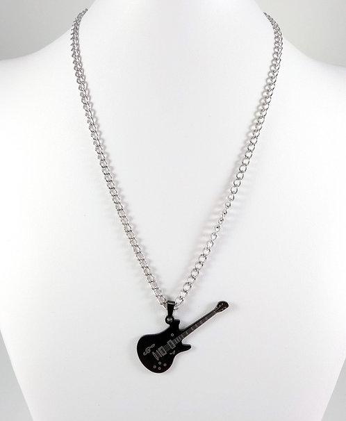 Chaîne et pendentif pour Homme, Acier inoxydable, Guitare électrique noire