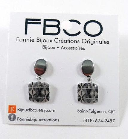 Boucles d'oreille FBCO ''Suzie'' Carré, noir et blanc