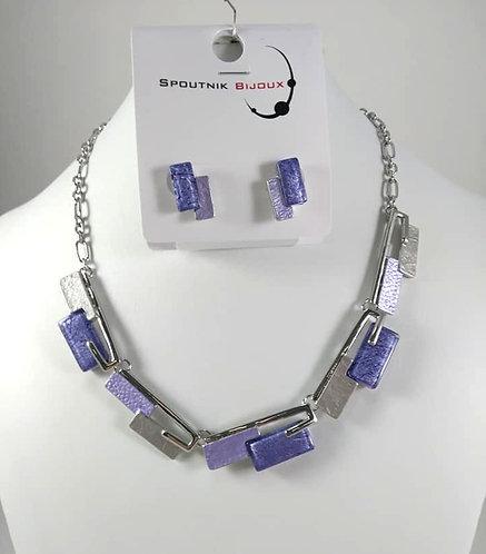 Ensemble collier et boucles d'oreille Spoutnik, Mauve-violet