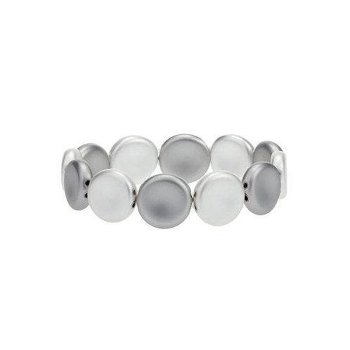 Bracelet élastique Caracol, Pastilles, Argent et Hématite, 3147-SLV