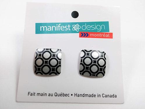 Boucles d'oreille Manifest Design: Fixe carré, Motif pois, noir et gris