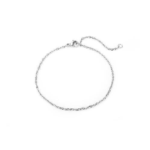 Bracelet Mia chaîne Singapore, Acier inoxydable, Argent